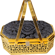Vintage Yellow Gold Tone Jet Black Quilted Sating Fancy Scrolled etched Filigree Unique Purse Handbag