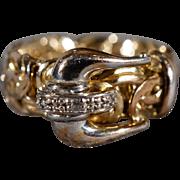SALE Vintage Sterling Silver Gold Overlay Round Diamond Turkish Made Byzantine Chain Link ...