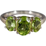 SALE Vintage Sterling Silver 3 Oval Prong Set Peridot 3 Stone Design Stacker Style Wedding ...