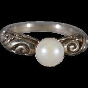 SALE Vintage Sterling Silver Round Cultured Pearl Fancy Scrolled Open Filigree Design Wedding