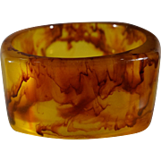 SALE Vintage Extra Wide  Striated Amber Color Faux Tortoise Shell Bangle Bracelet
