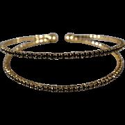 SALE Vintage Cuff Bracelet Yellow Gold Tone Multi Round  Jet Black Colored Rhinestone Tennis 2