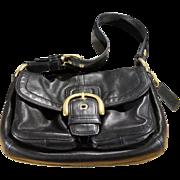 Vintage Purse Handbag Authentic Designer Signed Coach Jet Black Tanned Leather Brass Buckle Accents  MINT