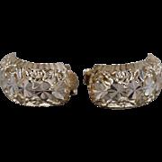 SALE Vintage Pierced Earrings Sterling Silver Fancy Etched Hoop Style Half Design       #1032