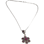 SALE Vintage Pendant Charm Necklace Chain Sterling Silver 84 Round Ruby White Topaz Floral Hal