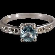 SALE Vintage Band Ring Sterling Silver 3 Round Prong Set Blue Topaz Diamond Classic Design Set