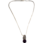 SALE Vintage Pendant Charm Necklace Chain Sterling Silver Round African Amethyst Multi Round S