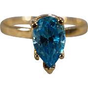 SALE Vintage Band Ring 14 K Yellow Gold Prong Set Pear London Blue Topaz Fancy Band Ring, Size