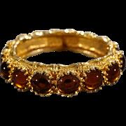 SALE Vintage Bangle Bracelet Yellow Gold Tone Designer Signed Kenneth J. Lane 16 Round Prong S