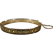 SALE Vintage Bangle Bracelet Yellow Gold Tone Black Enameled Fancy Etched Eternity Style    #1