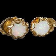SALE Vintage Pierced Earrings 2 Round Opal 12 K Yellow Gold Filled Fancy Stud Style       #104