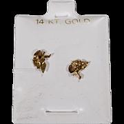 SALE Vintage Pierced Earrings 14 K Yellow Gold Fancy Etched Cherub Angel Puffed Heart Design S