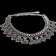 SALE Vintage Bib Style Necklace Silver Tone Fancy Etched Raised Relief Elephant Design Multi L