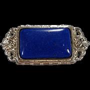 Vintage Pin Brooch Large Rectangle Lapis Sterling Silver Fancy Scrolled Etched Filigree Design