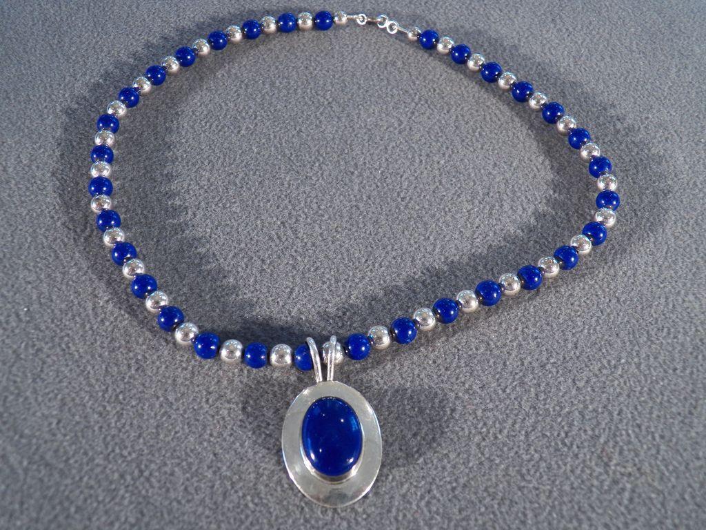 Vintage Sterling Silver Lapis Bead Pendant Charm Necklace