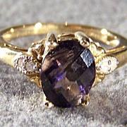 Vintage 10K Gold Filigree Big Oval Iolite Diamond Ring