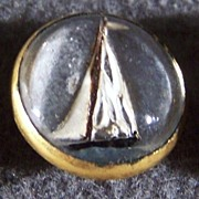 SALE Vintage sail boat reverse painted glass fancy  button