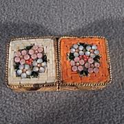 Vintage Yellow Gold Tone Italian  Double Micro Mosaic Pill Trinket box