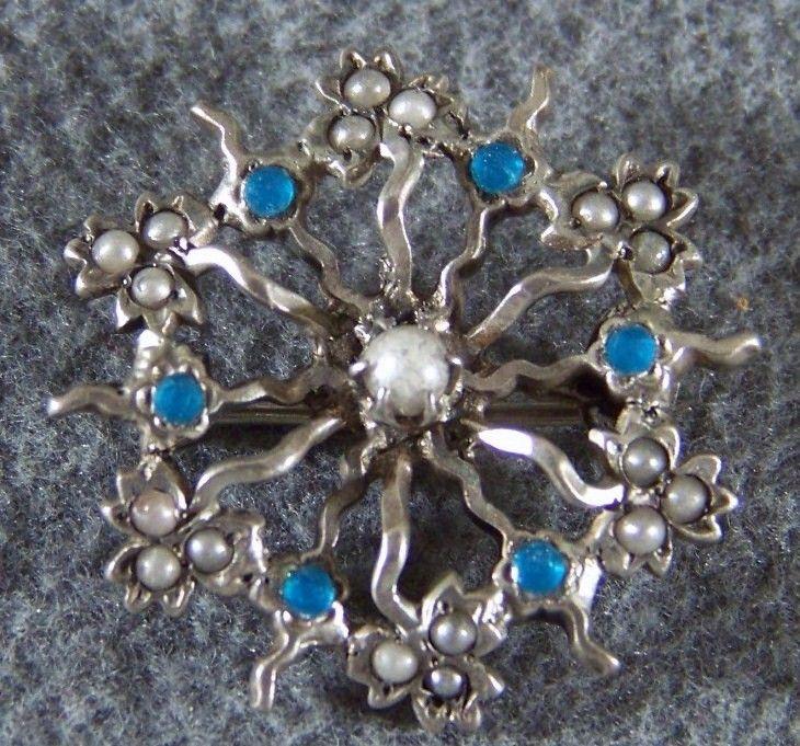 Vintage Sterling Silver  Blue Enamel Cultured Pearl Fancy Pin Brooch