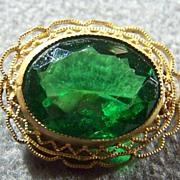 SALE Vintage Emerald Green Stone Fancy Big Pin Brooch