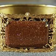 Vintage 12K Gold Filled Floral Big  Rectangle Gold Stone Fancy Scrolled Etched Wide Bangle Bracelet