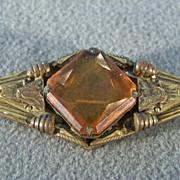 SALE Vintage  Golden Citrine Big Etch Pin Brooch