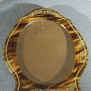 Vintage Unique  Lucite Celluloid Faux Tortoise Shell Oval Shaped Picture Frame