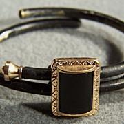 Vintage Gold Filled Enamel Stone Etruscan Cuff Bangle Bracelet