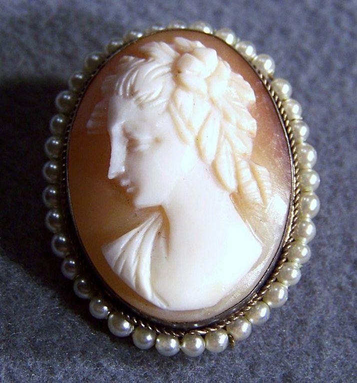 Vintage Silver  Italian Roman Cameo Cultured Pearl Pin Pendant