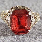 Vintage 10K White Gold Red Topaz Fancy Filigree Ring, Size 6    $150