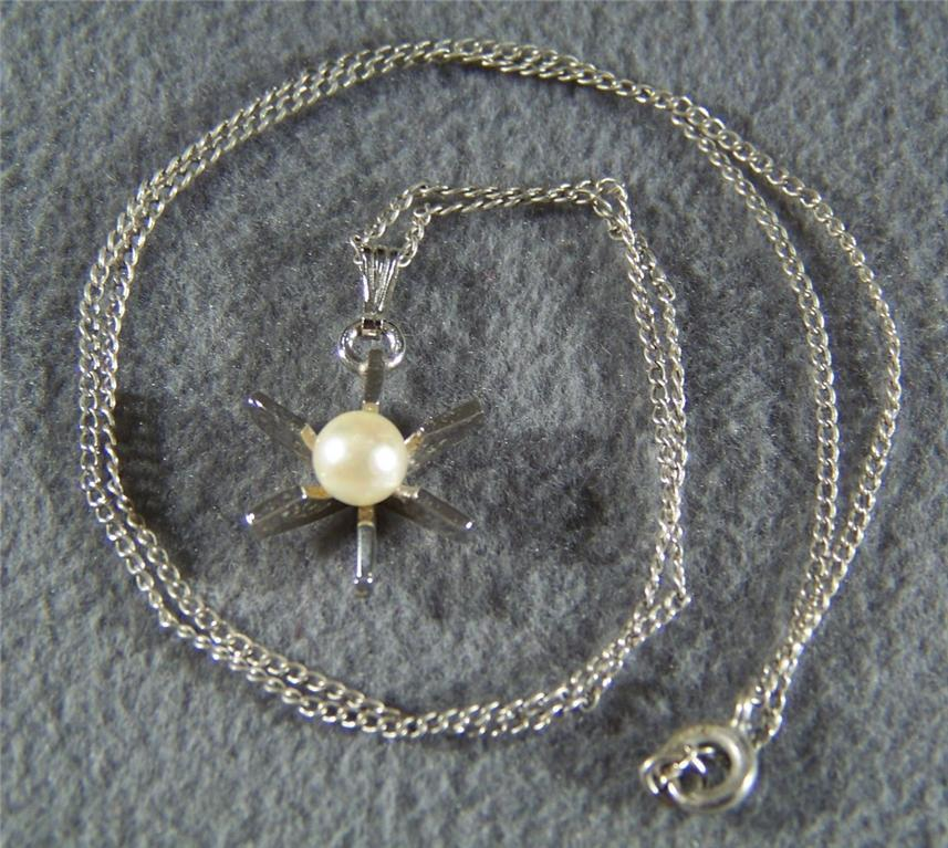 Vintage Silver Cultured Pearl Bold Pendant Lavaliere Necklace