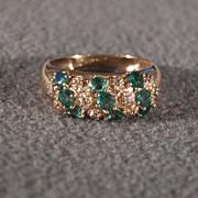 Vintage 10 K Yellow Gold  9  Round Emeralds  10  Round Diamond Band Ring 7