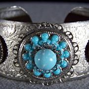 SALE Vintage  Faux Turquoise Rhinestone Wide Cuff Bangle Bracelet