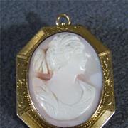Vintage 10K Gold Fancy Roman-Themed Cameo Pin Pendant Brooch