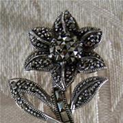 SALE Vintage Sterling Silver Marcasite Flower Pin Brooch