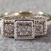 Vintage 14K White Gold Diamond Fancy Engagement Ring, Size 7