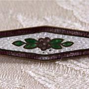 SALE Vintage SilverTone  Guilloche Enamel Floral Pin Brooch