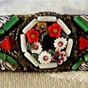 SALE Vintage  Italian Colorful Micro Mosaic  Big Pin Brooch