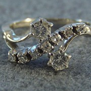 Vintage 14K Gold 9 Diamond Engagement Right Hand Ring, Size 5 1/2