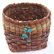 SALE Artist Handmade Pine Basket Turquoise Goldstone Copper