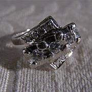 Vintage 14 K White Gold  3/4 Carat Diamond Bold Fancy Art Deco-Style Ring, Size 3.25