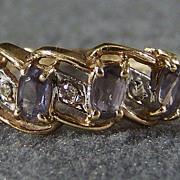 Vintage 10K Gold 4 Tanzanite Diamond Wide Band Ring, Size 8