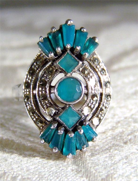 Vintage Silver Huge  Marcasite Emerald Ring, Size 7