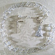 SALE Vintage  Silver Tone Glass Bead  Fancy Rosary Cross