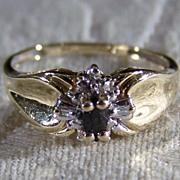 Vintage  10 K Yellow  Gold  Blue Sapphire  Diamond  Bold  Ring, Size 7