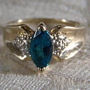 Vintage 10 k Yellow Gold  Marquise Diamond  Green Topaz Ring, Size 6