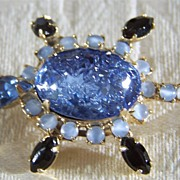 SALE Vintage Yellow Gold Tone  Turtle Shades  Blue Rhinestone  Pin Brooch