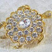 SALE Vintage Yellow gold Tone  Puffed  Turtle Bold  Rhinestone Pin Brooch