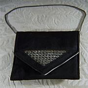 Vintage  Black Satin Rhinestone  Jeweled Purse  Handbag