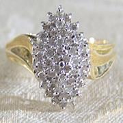 Vintage 14K Yellow White Gold Multi-Diamond 1/2 Carat ring
